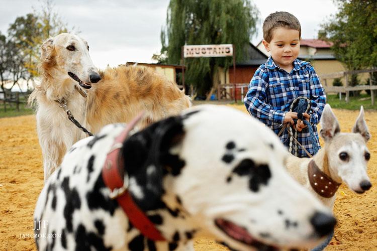Jacek Jarczok wykonał zdjęcia rodzinne miłośników zwierząt. Mama, córka oraz jej syn uwiecznili się wśród swoich ulubionych koni i psów.