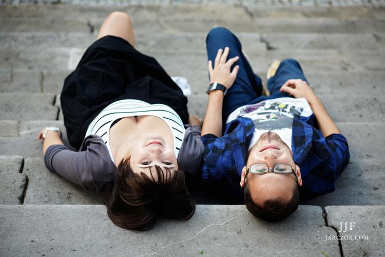 Fotografie portretowe Aleksandry i Piotra z sesji narzeczeńskiej.