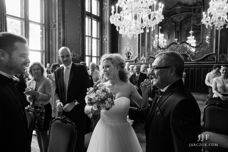 Zdjęcie ze ślubu w pszczyńskim pałacu.