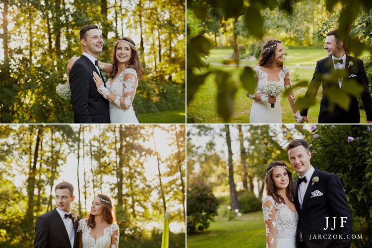 Sesja ślubna podczas wesela odbyła się w parku przy sali Cyprianówka.