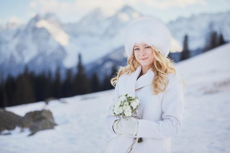 Portret Młodej Pani podczas zimowego wesela w Tatrach.